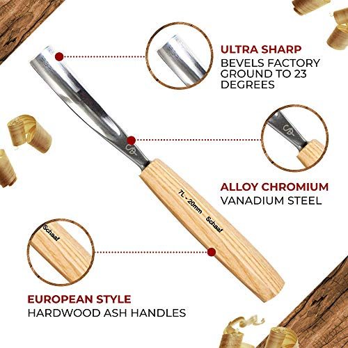 Schaaf Wood Carving Tools, Set of 12 with Canvas Case - Full Size Gouges and Chisels for Beginners, Hobbyists and Professionals | Sharp, Quality-Tested CR-V 60 Steel Blades
