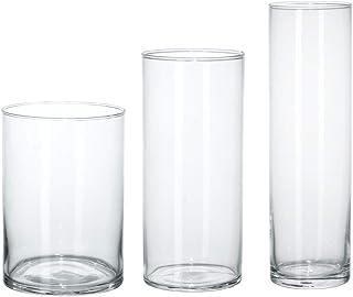 IKEA ASIA Jarrón cilíndrico, Juego de 3, Cristal Transparente