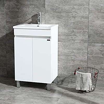 Sliverylake 20 Inch Free Standing Bathroom Vanity Cabinet with 2 Doors Undermount Resin Sink and Chrome Faucet Combo White
