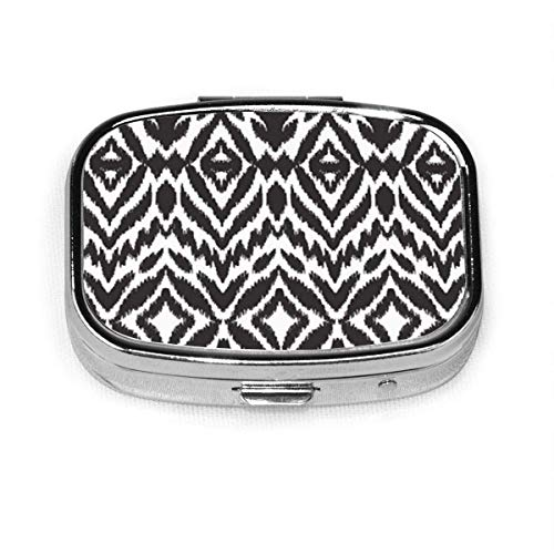 Square Pill Case with 2 Compartment,Small Pill Case Portable for Pocket Purse, Travel Pills Box Model-Abstract Black and White Ikat Ethnic Tribal Chevron