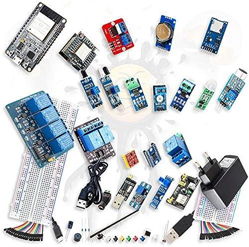 Androegg ESP IoT Beginner Mega Set über 300 Teile ESP32 ESP8266 ESP12F Sensoren USB TTL KonGrüner Adapter Module MB102+++