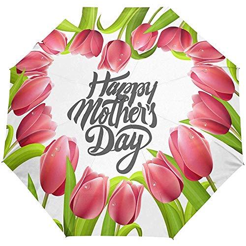 EW-OL Happy Muttertag Tulpe Blumen Rosa Herz Regenschirm Winddicht Regen Automatisch Öffnen Schließen Falten Reisen Anti-UV Sonnenschirme