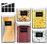 MEIXI 5er Vorratsdosen Set, Frischhaltedosen Set Stapelbare Vorratsdosen, Küche Vorratsbehälter mit Deckel, BPA frei Vorratsdosen Luftdicht mit Etiketten und Marker, Hellgrau/Transparent