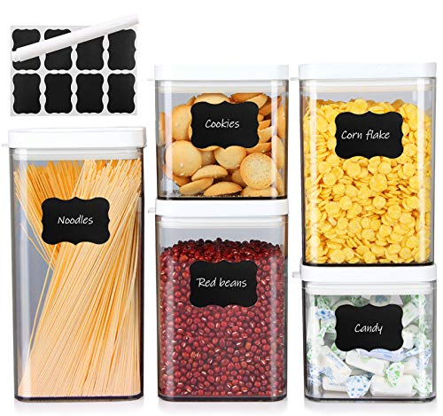 MEIXI 5pcs Recipientes para Cereales, Cajas de Almacenamiento Cocina Herméticos con Etiquetas y Marcadore, Dispensador de Alimentos Sin BPA para Pastas Harina Cereales, Botes Cocina