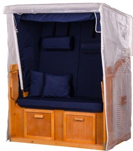 Mr. Deko Transparente Strandkorbabdeckung aus PVC - 120 x 155 x 80 cm/Größe M - Schutzhülle für Strandkorb - wasserdicht & wetterfest - Robuste Abdeckplane für 2-Sitzer - Strandkorbplane