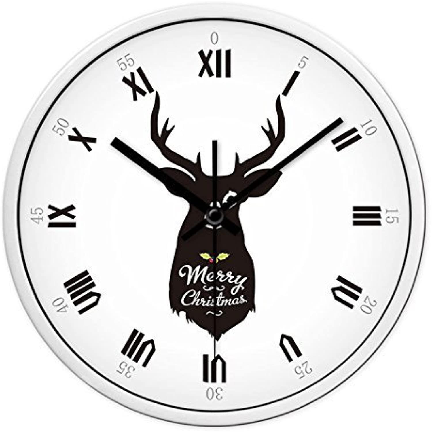 Creative Living Room Bedroom Quiet Wall Clocks Wall Charts Clock Table Clock Round Modern,12 inch,White Box