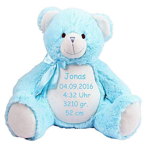 Mumbles Stofftier Bestickt mit Namen oder Wunschtext Bestickt Geschenk Teddybär Hund Einhorn Eule Hase AFFE Elefant Dino Drache Kuscheltier (Teddy hellblau)