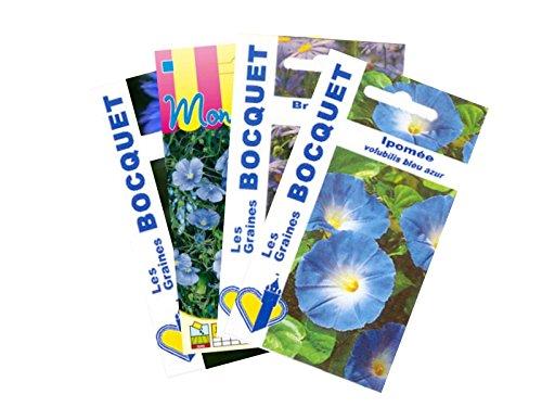 Lot de 4 sachets de Graines de Fleurs Bleues - Graines Florales à semer