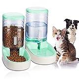 UniqueFit Pets Gatos Perros Riego automático y alimentador de Alimentos 3.8 L con 1 * dispensador de Agua y 1 * alimentador automático para Mascotas (Verde)
