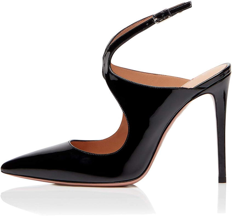 Spitze Zehe Schnalle Stiletto Schuhe,MWOOOK-433 Damen Elegante Party Hochzeit Schuhe mit Pfennigabsatz