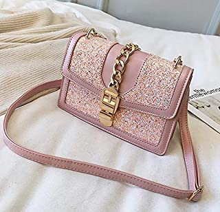 Adebie - Sweet Lady Sequin Square Bag 2019 Fashion New High Quality PU Leather Women's Designer Handbag Chain Lock Shoulder Messenger Bag 22 X 7 X 15 cm Pink [22 X 7 X 15 cm]