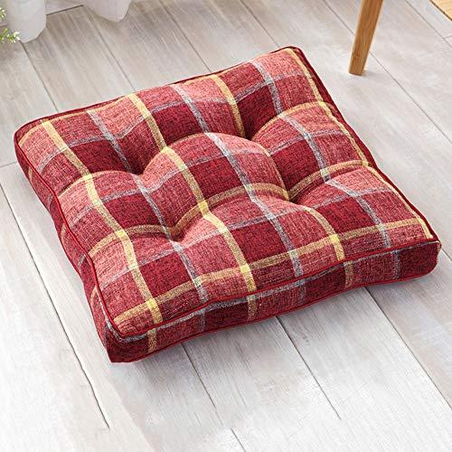 2 piezas estilo japonés algodón y lino tatami cojín de asiento, moderno cojín de suelo, cojín grueso para silla de comedor, Lino, B Rojo, 53x53cm(21x21inch)
