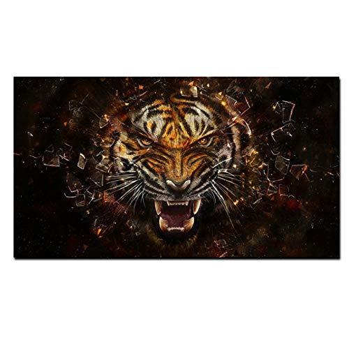 Lcgbw Art HD-printer, 3D-hoek, tijger, dieren, olieverfschilderij, op canvas, moderne wand, foto, voor woonkamer, bank, cudros decoratie 40x80cm Toile + Cadre
