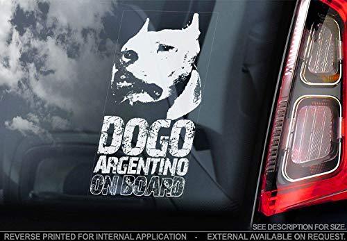 Sticker International Dogo Argentino - Adesivo Auto - Cane Firmare Finestrino, Paraurti Adesivi Regalo - V002 - Bianco/Trasparente - Esterno Stampa, 195x100mm