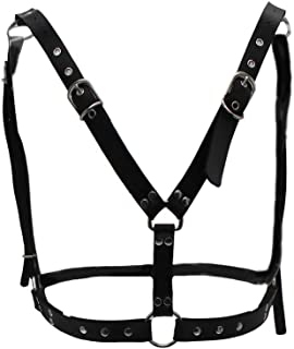 xperry Men's Leather Body Chest Harness Belt Punk Cage Belt Buckle Ring Adjustable