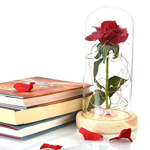 SXLWW - Fiaschetta in Vetro con Fiore Artificiale a Forma di Rosa Multicolore, per la Festa della Mamma C
