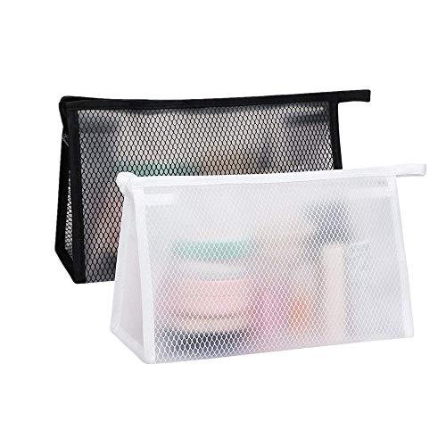 Bolsas de Aseo Transparente 2 Piezas Neceser de Viaje para Maquillaje Impermeable Bolso de Tocador Portátil Bolsa de Cosméticos para Negocios Viajes Vacaciones para Hombre y Mujer (Blanco, Negro)