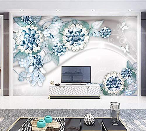 3D-Wandtapete, blaue Blume, WC373, für Innenbereich, entfernbar, selbstklebend, groß, Zwiebelmuster, gewebtes Papier (benötigt Kleber), 520 x 290 cm (B x H)
