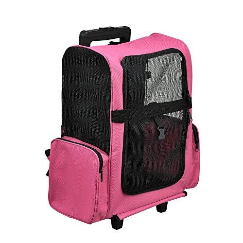 [pro.tec] 2 in 1 Hunderucksack / Hunde Trolley - Transporttasche für Hund / Katze (pink) - mit 4 Rollen