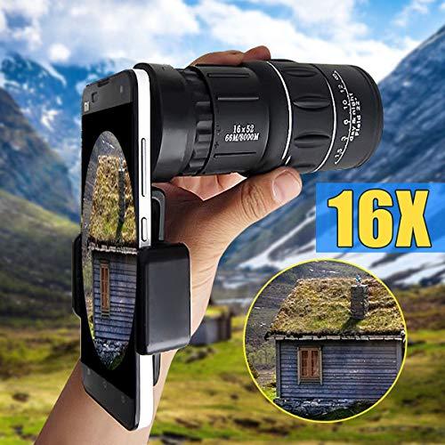 DSENIW QIDOFAN Binoculares 16x52 Senderismo Smartphone Telescopio monocular cámara Cámara de Lente HD Alcance Hunting + Titular de teléfono FOR iPhone 5 7 8 Plus X FOR Huawei