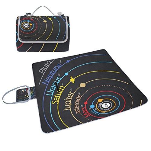 COOSUN Solar System Planet Picknick Decke Tote Handlich Matte Mehltau resistent und wasserfest Camping Matte für Picknicks, Strände, Wandern, Reisen, Rving und Ausflüge