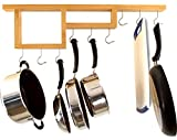 Pot Rack - Easy to Reach Ceiling Mount Solid Wood Pan Rack with Stationary Hooks