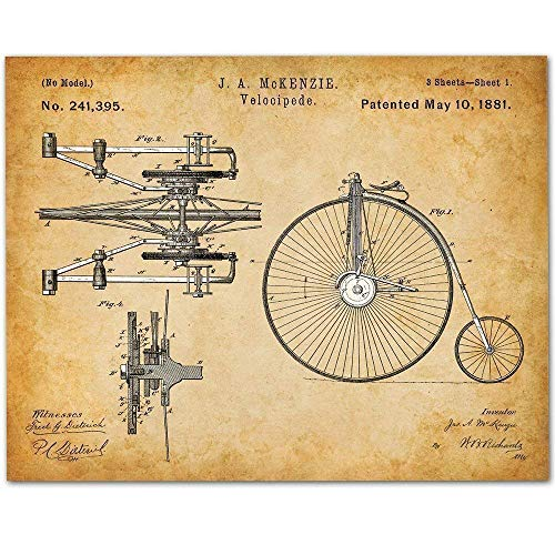 Velocipede Bicycle Art - 11x14 Unframed Patent Print - Makes a Great Gift Under $15 for Bicyclists