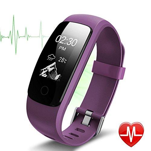 Fitness tracker id 107plus hr, marca Tigerhu, braccialetto smart, tracker, contapassi. Orologio fitness da polso con cardiofrequenzimetro, contapassi, monitoraggio del sonno, contatore di calorie, gps, meteo. Per Android e iOS