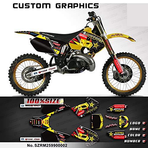 Kungfu Graphics Custom Decal Kit for Suzuki RM125 1999 2000, Black White Yellow
