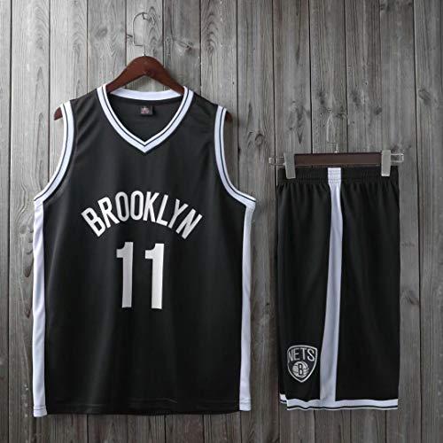 HS-XP Boys Girls Adult Hombres NBA Brooklyn Nets 11# Kyrie Irving Basketball Jerseys Trajes De Verano Top + Corta, 100% Poliéster, Non-Fade,Negro,L(Adult) 160~165CM