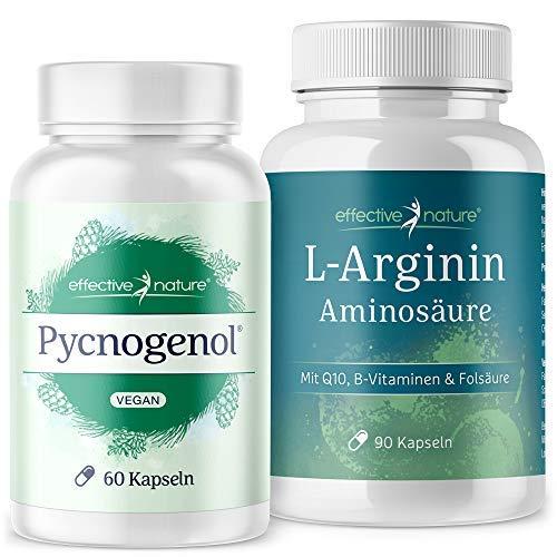 effective nature L-Arginin und Pinienrindenextrakt Pycnogenol | Kraftpaket für den Mann | Hochdosiert | Reicht für 2 Monate | Mit Zink für einen normalen Testosteronspiegel