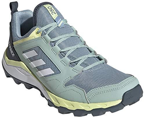 adidas womens Terrex Agravic Trail Running Shoe, Grey/White/Yellow Tint, 8.5 US