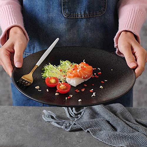 Keramische platen, platen Sets, porselein serviezen, Dessert Plate, tapas borden, Cereal Borden, zwarte keramische Grote Ronde Plate fruitschaal (Size : C)