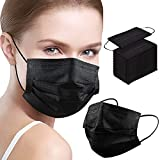 Black Disposable Face Mask 100 Pcs 3 Ply Mouth Cover Dust Masks for Adults with Elastic Ear Loop