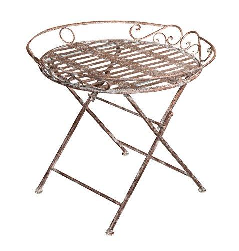 Biscottini Table basse pliante en fer forgé finition rouille vieillie diamètre 70 x hauteur 60 cm
