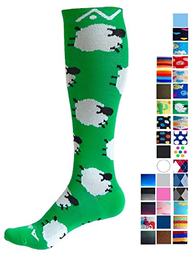 A-Swift Compression Socks for Women & Men - Counting Sheep, Medium