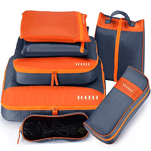 Packing Cubes for Travel Luggage Lightweight Organizers 7 Set Suitcase Travel Accessories Cloth Bag Cubes with Laundry/Toiletry/Shoes Bag (Orange, 7 Set)