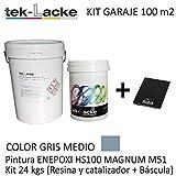 TekLacke Kit Suelo Garaje 100 m2 | Epoxi Bicomponente Alta Dureza | para Interior | Fácil Aplicación | Transito Medio | Sin Disolventes | 24 Kg (a+b)