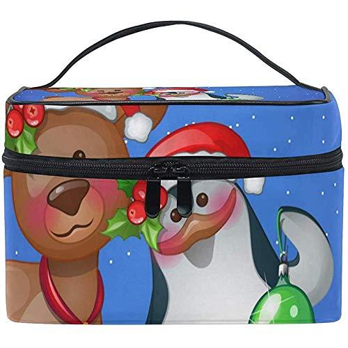 Make-up Case Cosmetische Tas, herten knuffelen met Snowman Capaciteit en verstelbare Make-up Tassen Waterdichte Toilettas