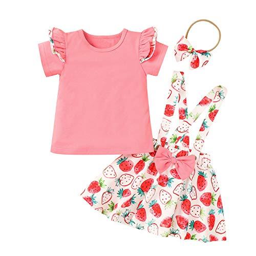 Småbarn flicka sommar kjol set jordgubb tryck kläder, baby flicka barnsäng t-shirt t-shirts + hängslen kjol + pannband