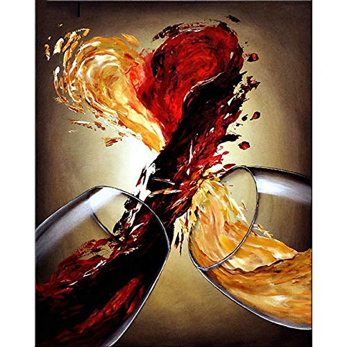 5D DIY Diamond Painting Cross stitch Kit, Vino tinto 16x20in Square Drill completos diamantes de imitación de cristal bordado de Decoración de la sala de decoración pegatinas de pared,