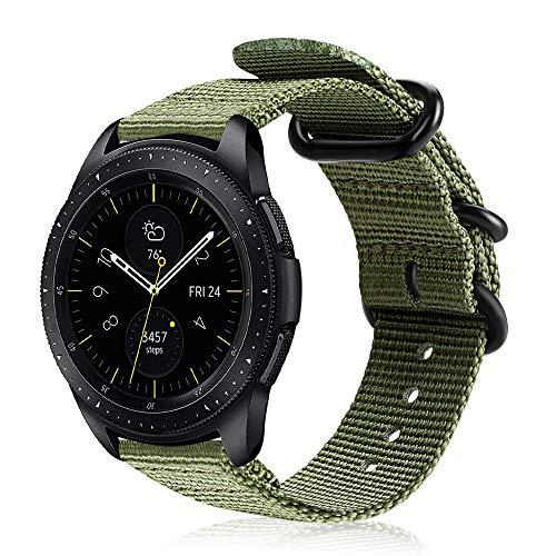 Fintie Armband kompatibel mit Galaxy Watch 3 41mm/Galaxy Watch 42mm/Galaxy Watch Active/Active 2/Gear Sport/Gear S2 Classic - Premium Nylon Uhrenarmband verstellbares Sport Ersatzband, Olive