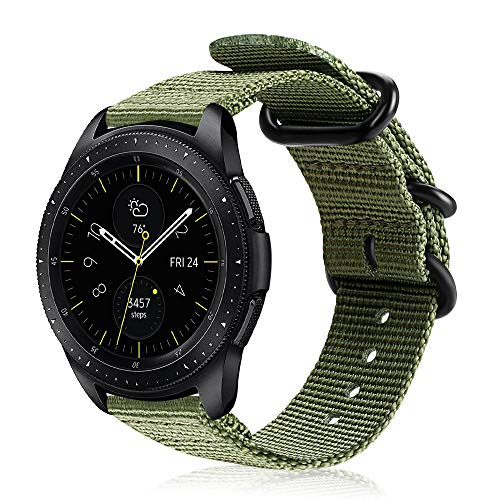 Fintie Armband kompatibel mit Galaxy Watch 3 41mm/Galaxy Watch 42mm/Galaxy Watch Active/Active 2/Gear Sport/Gear S2 Classic - Premium Nylon Uhrenarmband verstellbares Sport Ersatzband, Olive