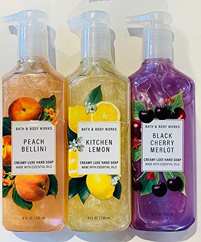 Bath and Body Works 3 Pack Creamy Luxe Hand Soap. 8 Oz. Kitchen Lemon, Black Cherry Merlot and Peach Bellini.
