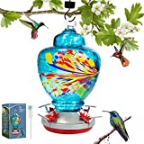 Hummingbird Feeder for Outdoors, Anfly Hand Blown Glass Bird Feeder, 37 Ounces, Leak-Proof and Easy to Clean Nectar Capacity, with Hanging Hook, Ant Moat, Brushes, Hemp Rope
