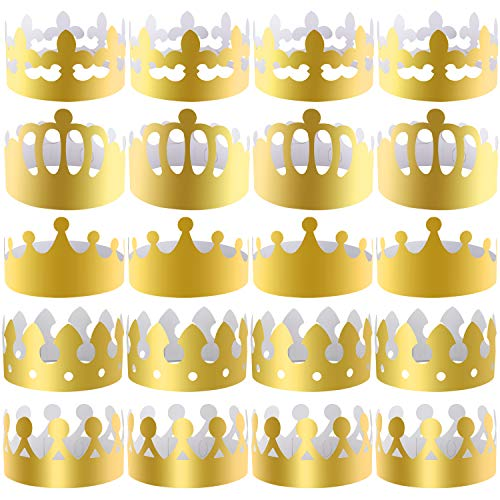 SIQUK 25 Pieces Paper Crowns Gold Party Crown Paper Hats Party King Crown for Kids and Adults