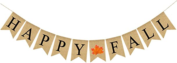 Solider Happy Fall Burlap Banner Thanksgiving Burlap Banner Pumpkin Sign Banner Decoration for Mantel Fireplace Wall Hanging, Home Office Decor Thanksgiving