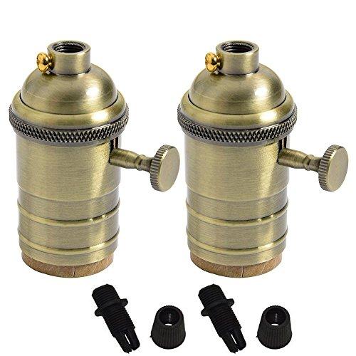 2portabombillas de latón estilo vintage con interruptor de encendido, para bombillas E27