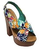 Breckelles Rudy 13 women's Platform Heel Sandals Open Toe PU Multi 8