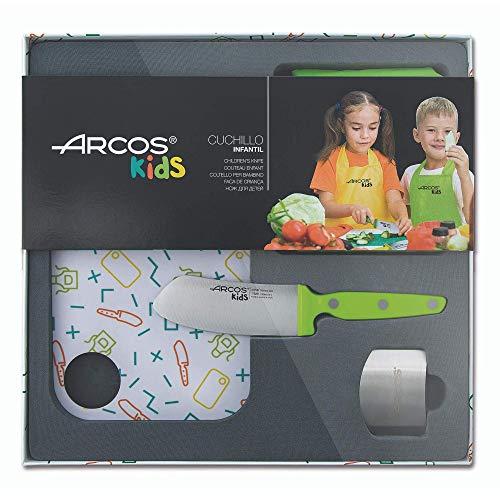 Arcos Kids - Ensemble de cuisine pour enfants (couteau pour enfants + Tablier + planche à découper + protège-doigts) - Couleur Vert